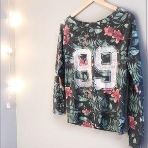 3/$20 Floral Tropical Varsity Graphic Sweatshirt